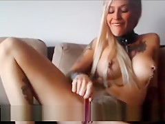 Hot blonde bondage tattoo girl