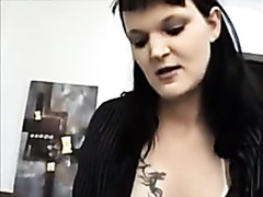 Naughty brunette hair oral sex and cum gulp