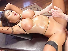Huge tits slut in latex shaved cunt fucked