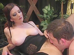 Natural huge tits domme in facesitting