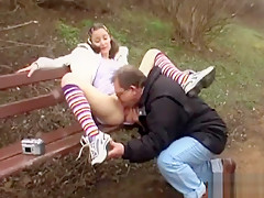 Fresh young hottie Cathy banged in doggie