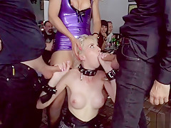 Blonde spanked and fisted in public bar