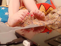 Beautiful Wiggling Toes Close Up While Gamer Girl Watches Dragonball