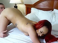 Sexy Redhead Masturbates and Blows Dude