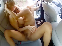 Horny Stepsisters Having Lesbian Sex In Public In Car