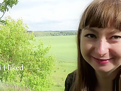 Hot coed gave me a Blowjob and swallowed cum while walking outdoors