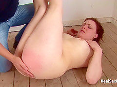 Pale brit amateur gets her bum spanked and cheeks spread