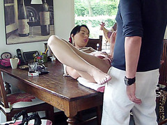 Non-Professional lovers have sex on the table