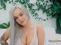 Busty Babe Toys Her Sweet Pussy
