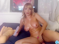 CamSoda - busty milf Dana DeArmond toys her ass with dildo