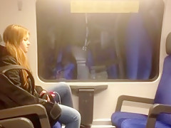 Crazy guy jerks off in a train with a chick sitting next to him