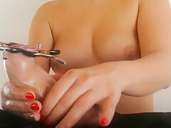Slow Teasing with Cock Clamps and Tied Balls - Handjob LiljaSwitch