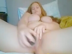 irish redhair with a hairbrush in pussy