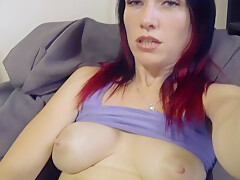 Cute girl plays with a big dildo and cums wet