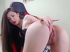 Sexy Geek Girl Masturbates in a Gamer Chair