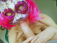 Young Stepsister Sucking Cock Passionately with Pink Hair and a Cat Mask