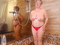 Pam in red and shower.