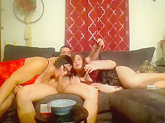 Smoking fetish Threesome blowjob