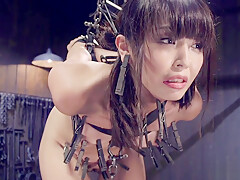 Petite Asian sub strapped and waxed