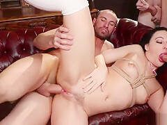Brunette takes huge dicks in bdsm group