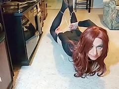 Tranny Slave tied in Hogtie - Sissy Bondage