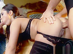 Stockinged euro assfucked deeply in threesome