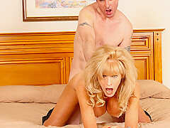 Busty amateur cougar fucking her younger boyfriend