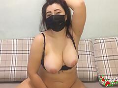 Masked Brunette Rides Above Big Sex Toy