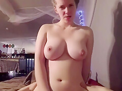 Girlfriend Plays With Her Tits Before Riding A Pole