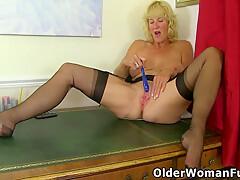 British Milf Molly Masturbates On Top Of Her Desk
