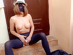 Whore In A Mask And Tight Black Pantyhose With A Hole In Her Pussy Masturbates With A Vibrator Under