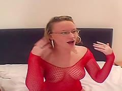 Female camera lady films men cumming onto a woman