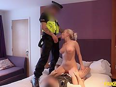 Lili in Slut so tight for policemans helmet - FakeCop