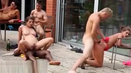 Bi studs ride in orgy outdoors