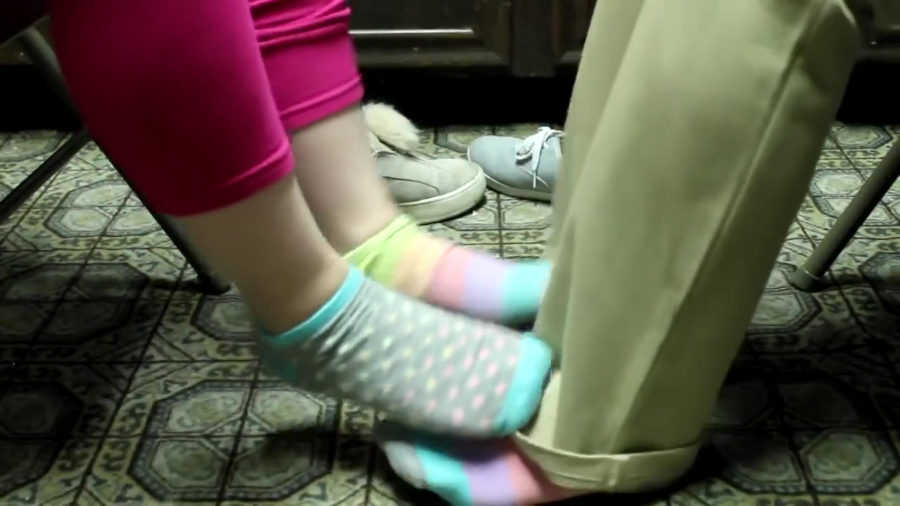 Sisters Playing Footsie In Mismatched Socks ASMR
