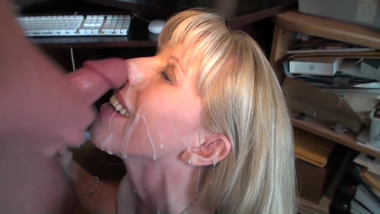 Older Woman Gets A Huge Facial In Her Home Office