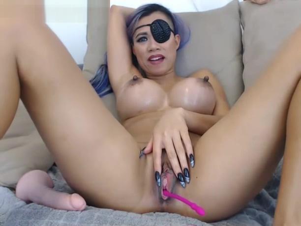 Asian pirate naked legs spread webcam masturbation