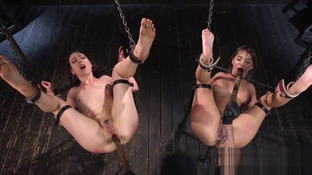 Master fucks two slaves in device bondage