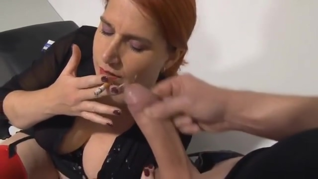 smoking slut Mommy sucks and wanks for a facial