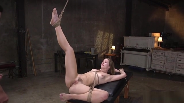 Hairy slave in rope bondage gets anal training