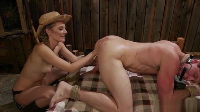 Mistress cowgirl anal fucks gagged male