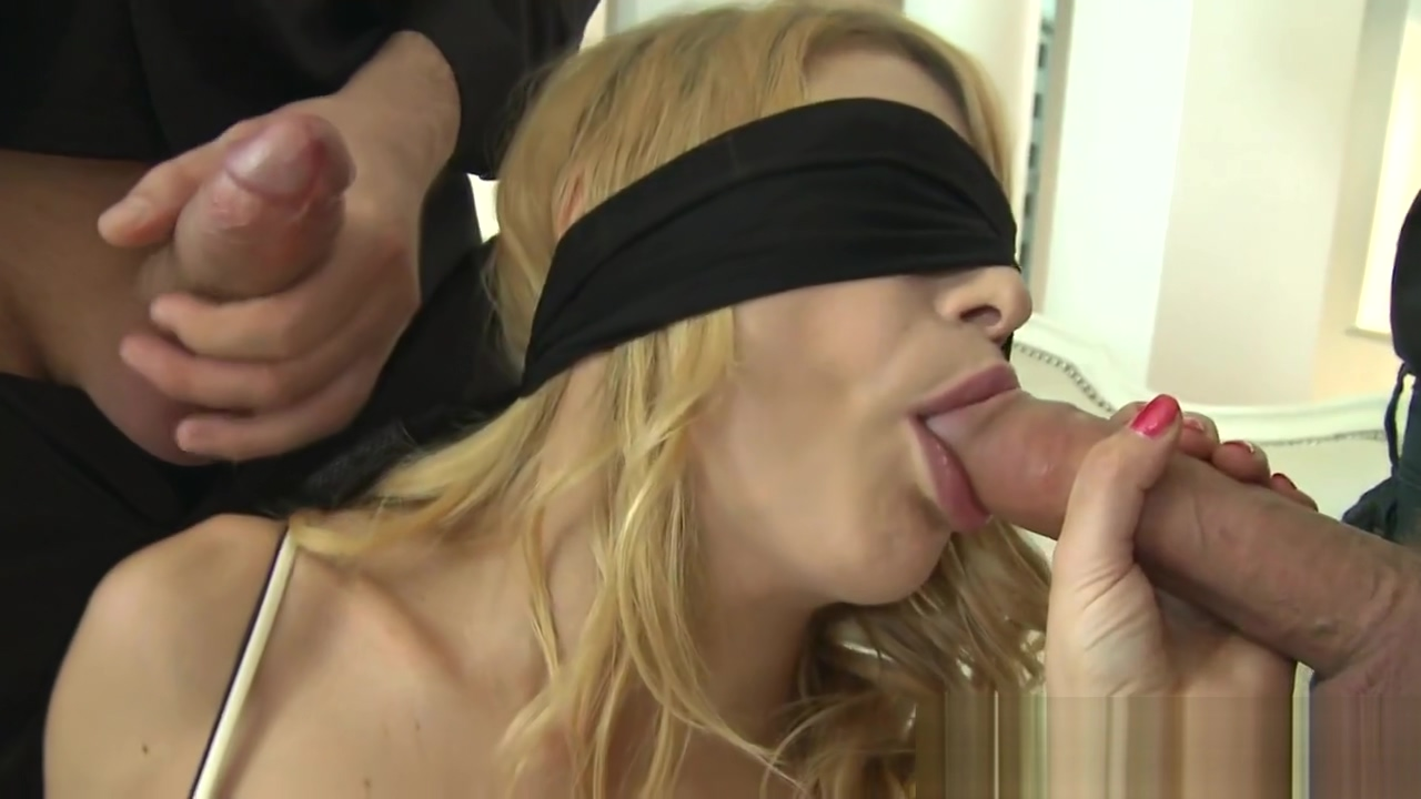 Blindfolded euro assfucked during threesome