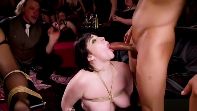 Fat brunette hard paddled at orgy
