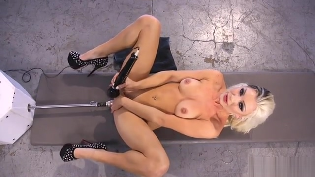 Blonde in fishnets anal fucks machine