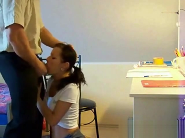 Russian Pigtail School Girl Her Private Old Tution Teacher