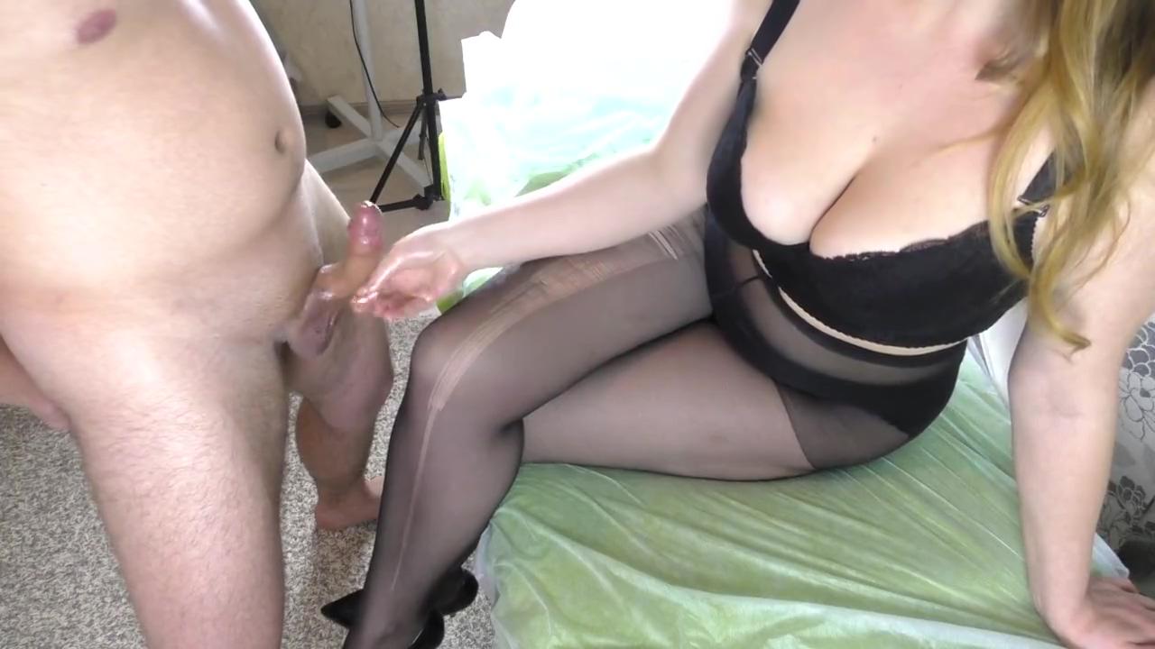 Teen Step Sis with Big Tits in Black Pantyhose - Handjob, cum feet