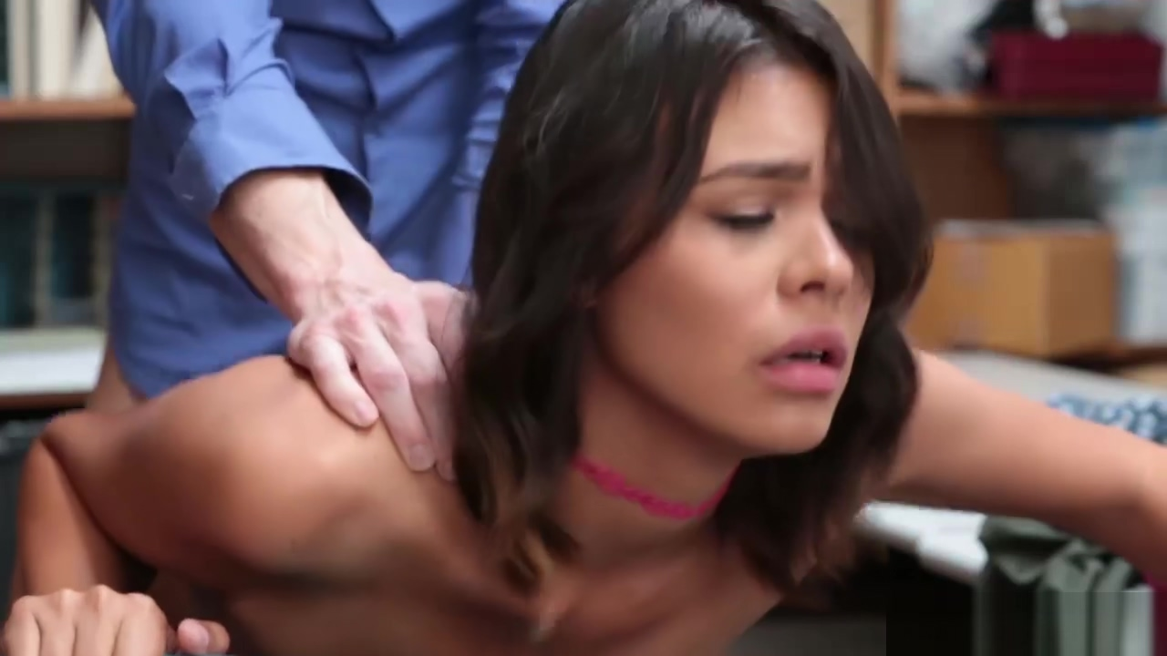 Shoplifter Kat Arina gets bang in the office by LPs huge cock