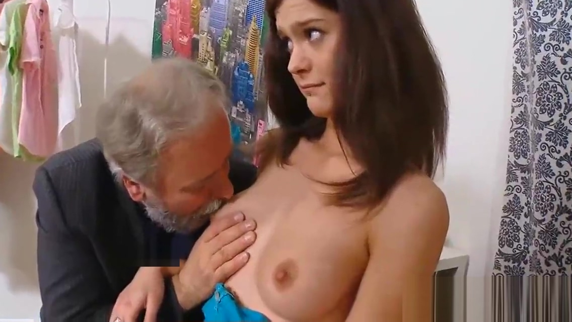 Old man sucking and fucking young girls nude boobs